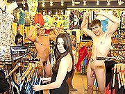 twinks Hot gay twinks dancing naked in a clothe shop in the middle of people!