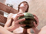 twinks Amazing slim twink getting horny and fucking a water melon